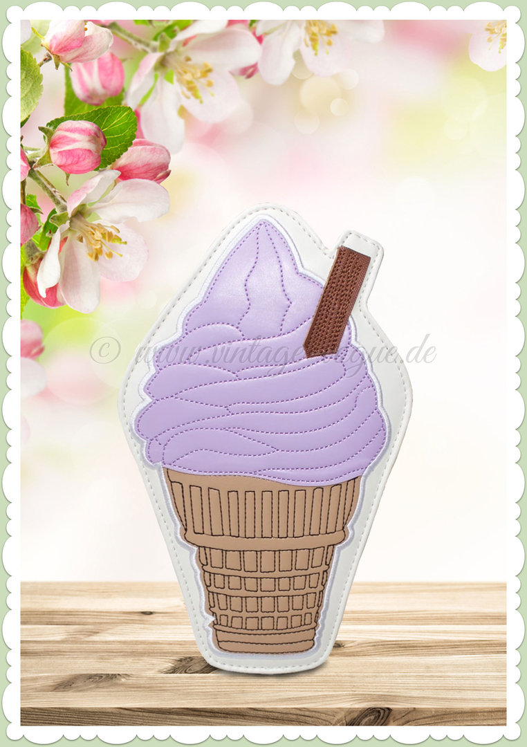 Collectif 50er Jahre Pin Up Retro Vintage Tasche - Ice Cream Bag - Lila