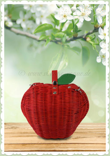 Collectif Retro Vintage Apfel Rattan Handtasche - Apple Bamboo - Rot