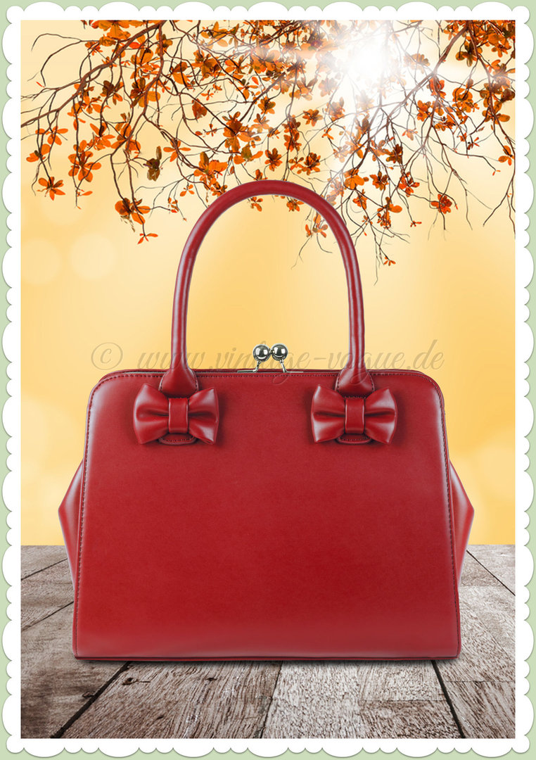 Collectif 40er Jahre Pin Up Vintage Retro Tasche - Jessica Bow - Rot
