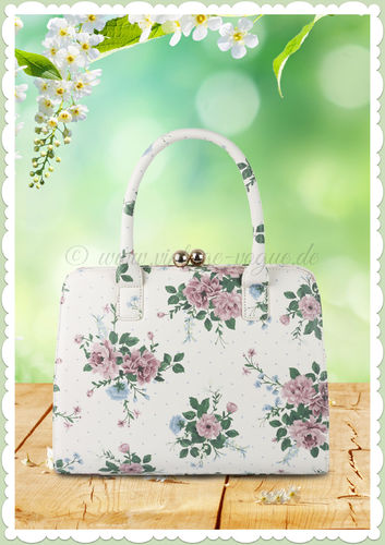 Collectif 40er Jahre Pin Up Vintage Floral Retro Tasche - Jessica - Creme