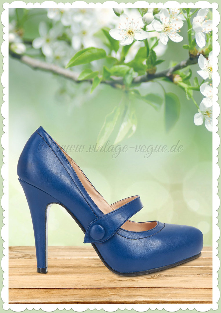 Collectif Lulu Hun 50er Jahre Vintage Riemchen Pumps - Dolly - Navy Blau