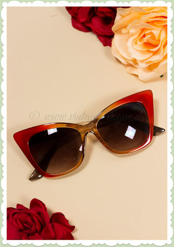 Revive Eyewear 60er Jahre Retro Vintage Cat Eye Sonnenbrille - Rot