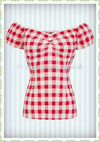Collectif 50er Jahre Pin Up Vintage Karo Top Shirt  - Dolores - Rot Weiß