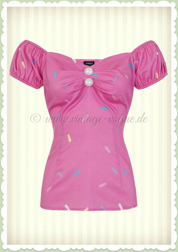 Collectif 50er Jahre Pin Up Retro Vintage Top Shirt  - Dolores - Pink