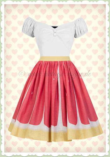 Collectif 50er Jahre Vintage Retro Grapefruit Rock - Jasmine - Gelb Pink