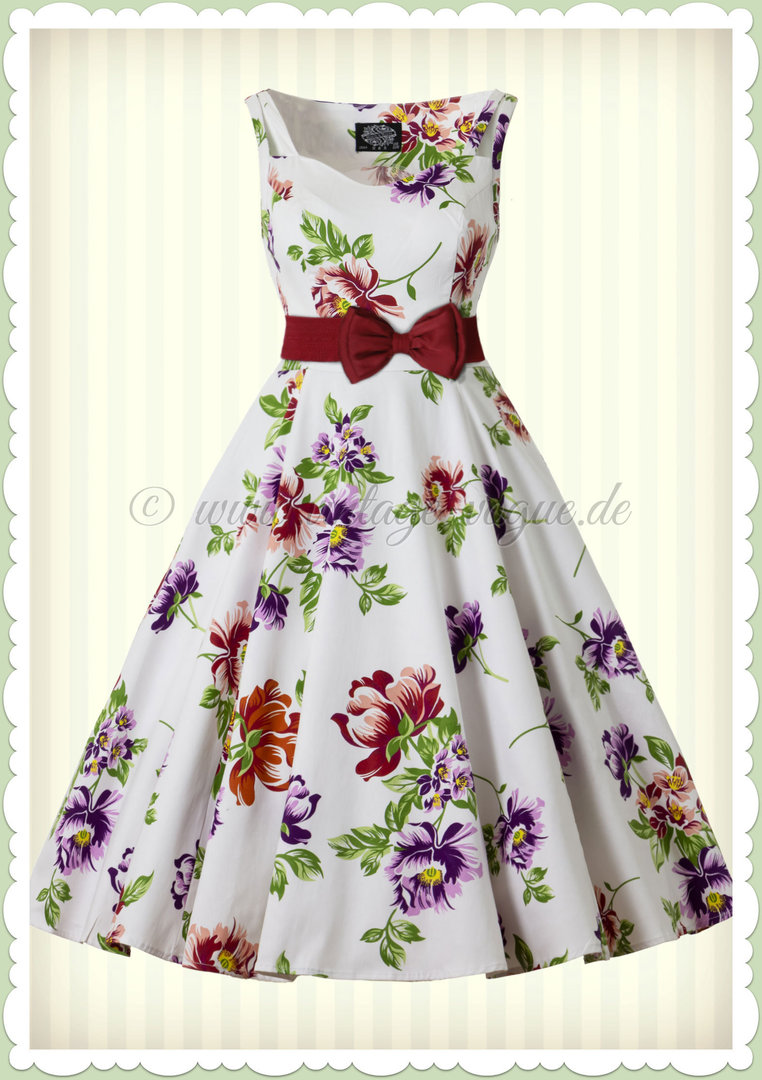 Hearts & Roses 50er Jahre Retro Petticoat Kleid - Striking Sundress - Weiß