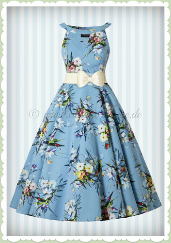 Hearts & Roses 50er Jahre Retro Petticoat Kleid - Izzy Floral - Hell Blau