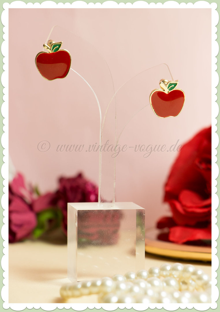 Collectif 50er Jahre Retro Vintage Apfel Ohrringe - Apple Studs - Rot