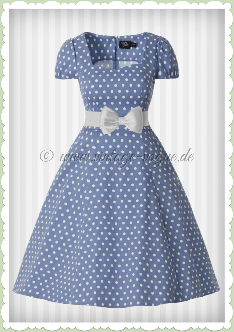 Dolly & Dotty 50er Jahre Retro Vintage Punkte Kleid - Claudia - Hell Blau