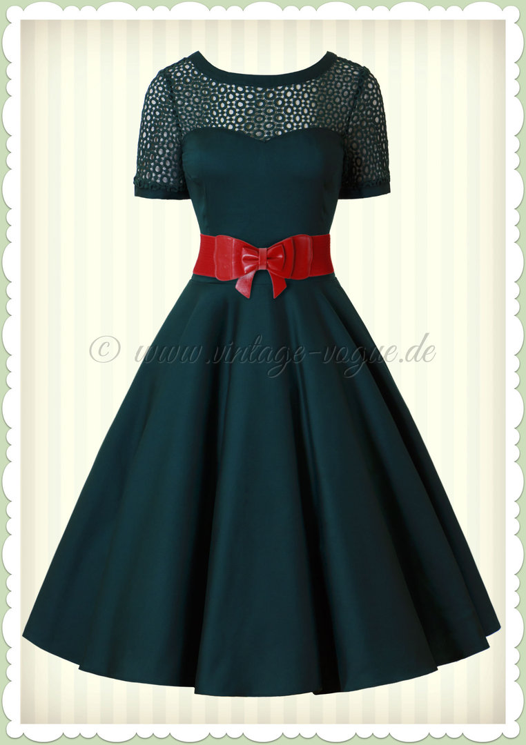 Dolly & Dotty 50er Jahre Retro Rockabilly Petticoat Kleid - Tessa - Grün