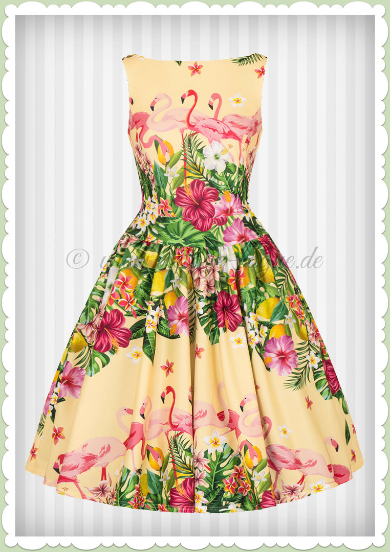 lady vintage 40er jahre vintage retro kleid - flamingo border - gelb grün