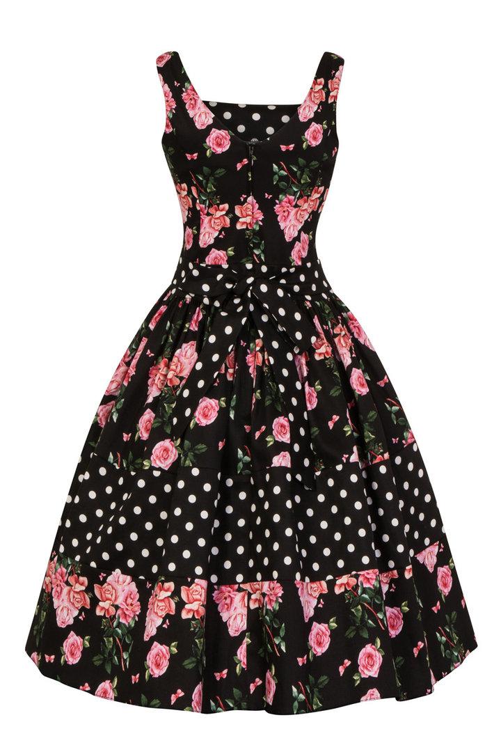 Retro Punkte Vintage Lady Delilah Dress 40er Jahre Rosen Kleid CQrWxBdoe