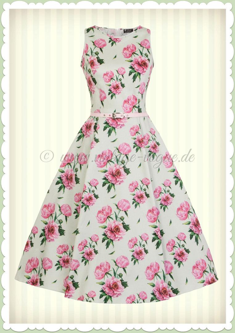 Lady Vintage 17er Jahre Vintage Retro Blumen Kleid - Hepburn - Pastellgrün