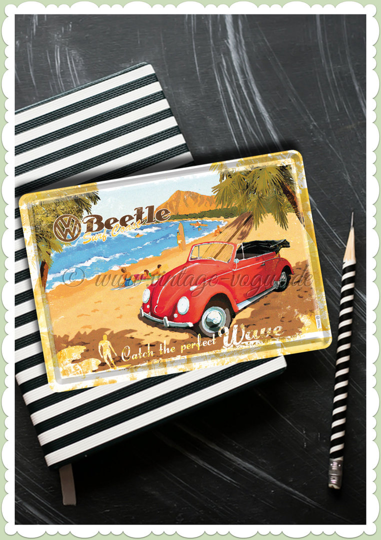 "Nostalgic Art Retro Blechpostkarte ""VW Beetle - Ready for the Beach"""
