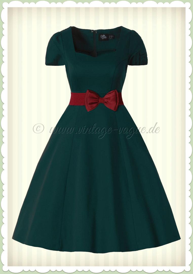 Dolly & Dotty 13er Jahre Rockabilly Petticoat Kleid - Claudia - Dunkelgrün