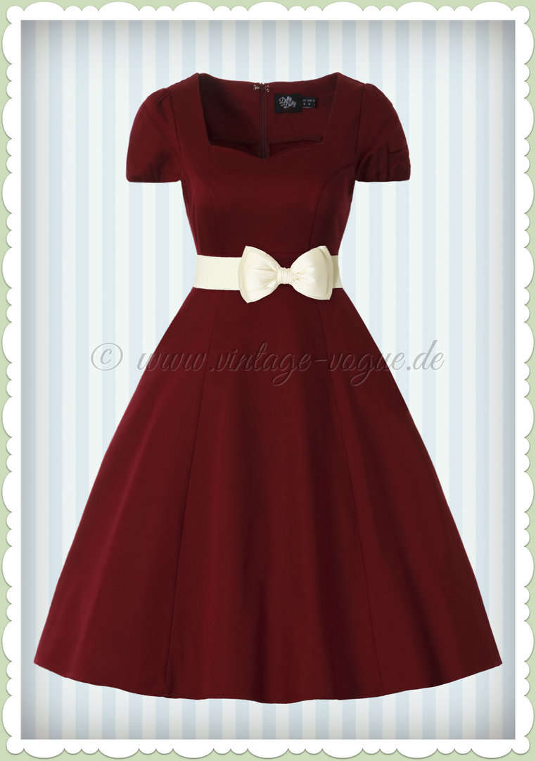 Dolly & Dotty 50er Jahre Rockabilly Petticoat Kleid - Claudia - Weinrot