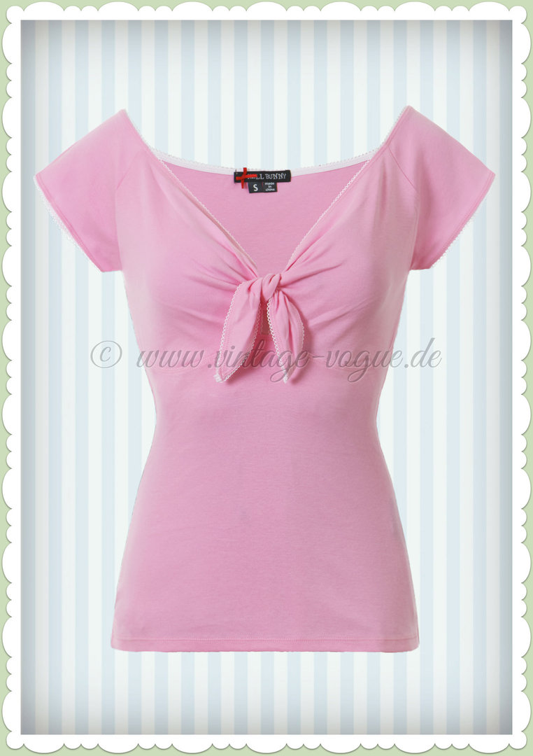 Hell Bunny 40er Jahre PinUp Retro Schleife Shirt Top - Bardot - Rosa