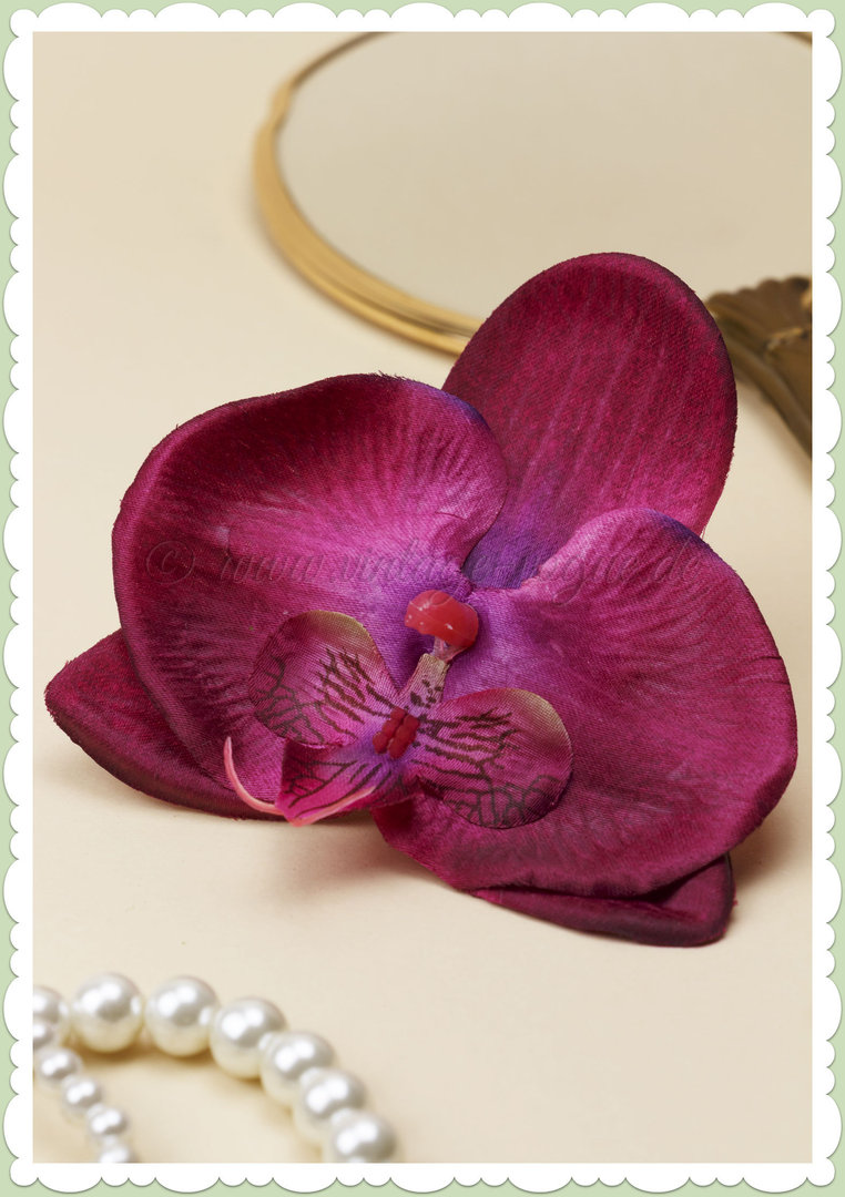 Lady Luck 50er Jahre Retro Vintage Haarblume Orchidee - Gene - Rot Pink
