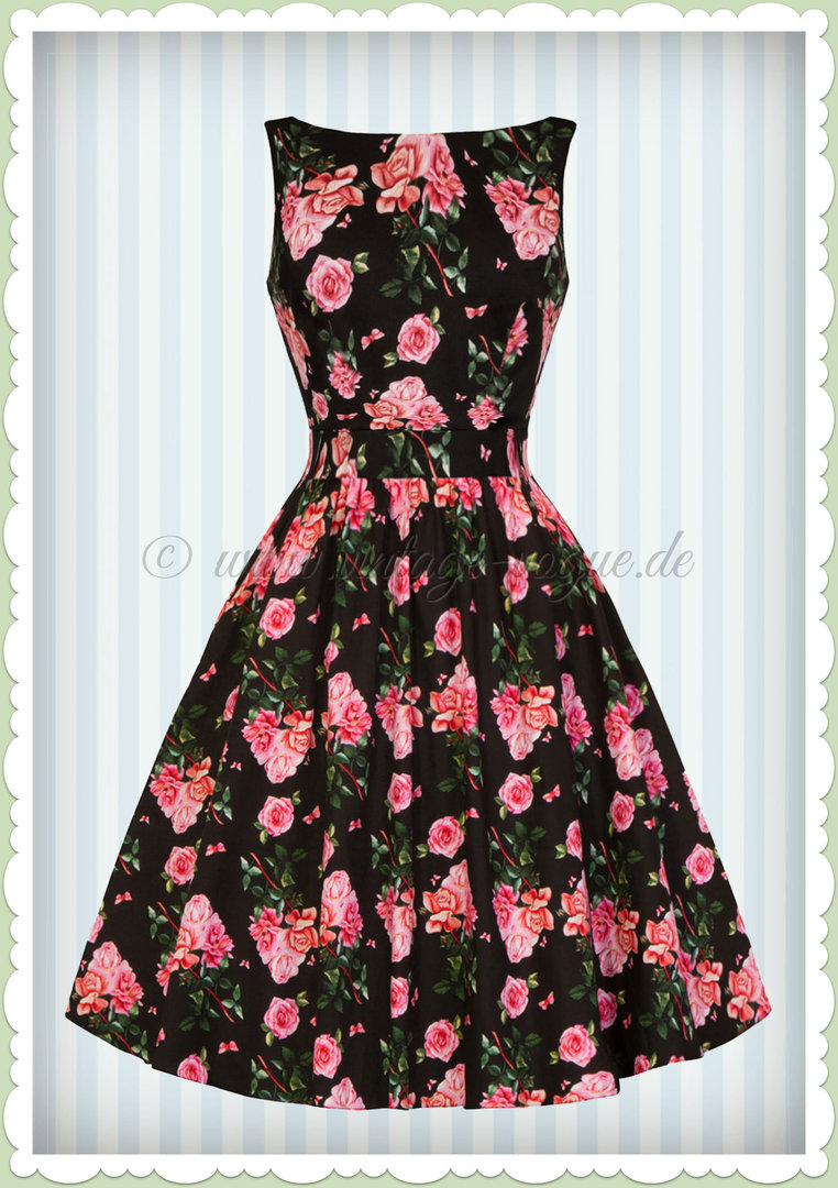 Lady Vintage 40er Jahre Retro Vintage Rosen Kleid - Tea Dress - Schwarz