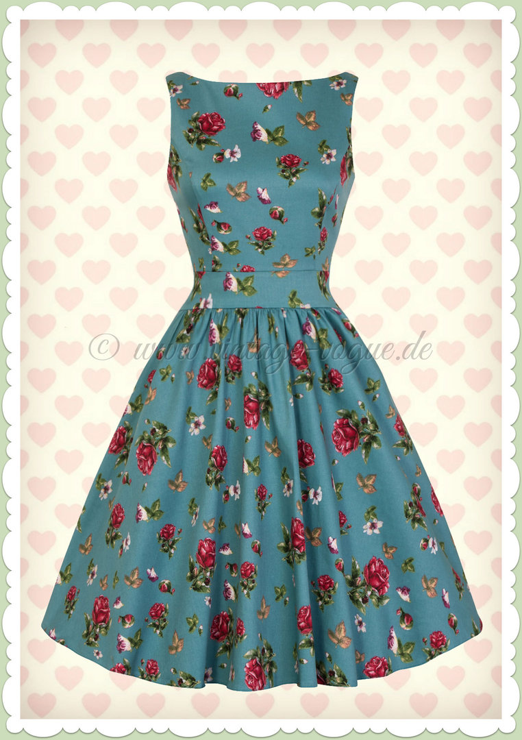 Lady Vintage 40er Jahre Vintage Retro Blumen Kleid - Tea Dress - Petrol