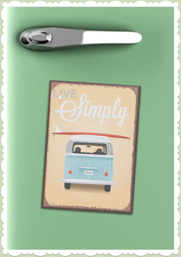 "Clayre & Eef 50er Jahre Retro Vintage Magnet ""Live Simply"""
