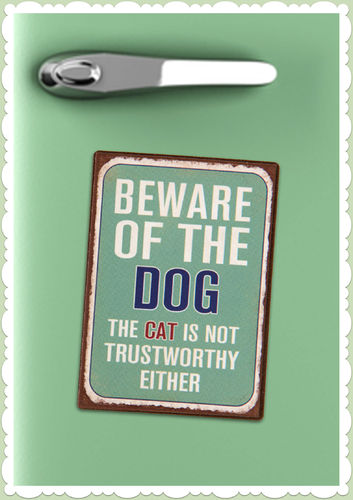 "Clayre & Eef 50er Jahre Retro Vintage Magnet ""Beware of the Dog"""