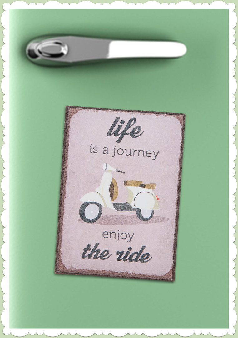 "Clayre & Eef 50er Jahre Retro Vintage Magnet ""Live is a journey"""