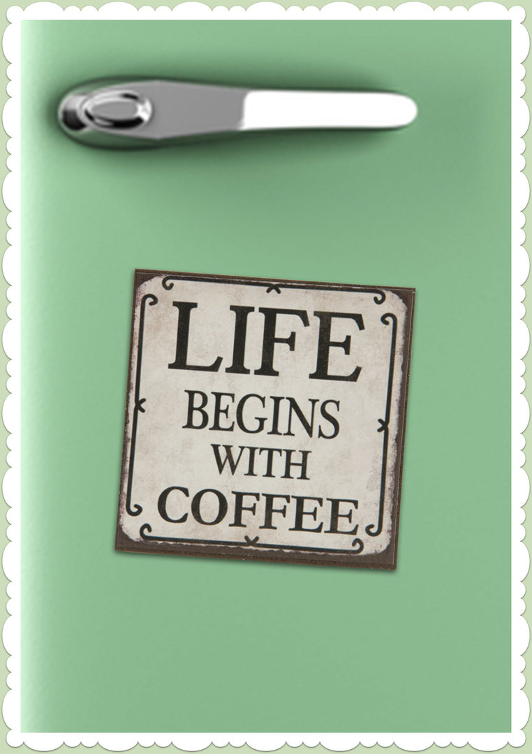 "Clayre & Eef 50er Jahre Retro Vintage Magnet ""Live begins with coffee"""