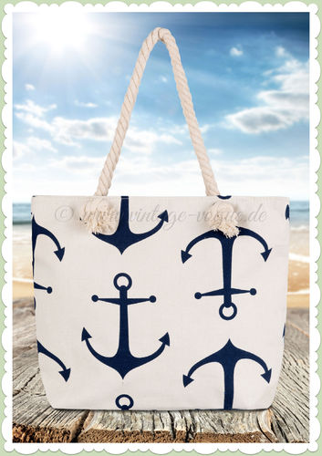 "Clayre & Eef Vintage Retro Anker Shopper Handtasche ""Nautical"" - Weiß"