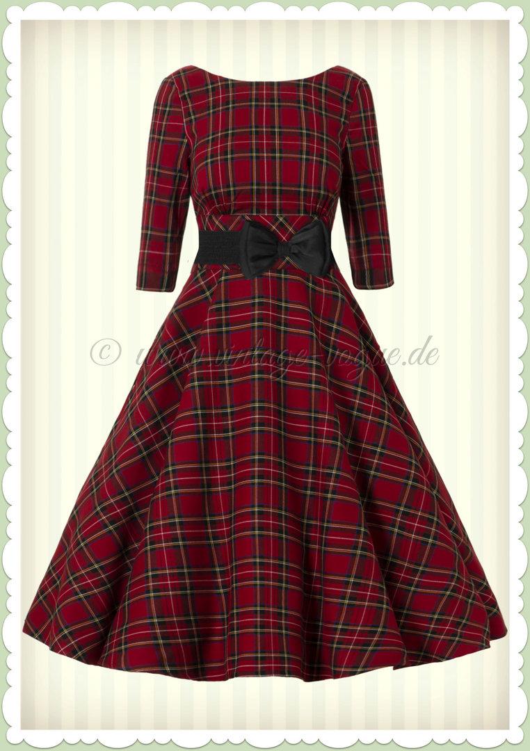 hell bunny 50er jahre retro vintage petticoat tartan kleid - irvine - rot
