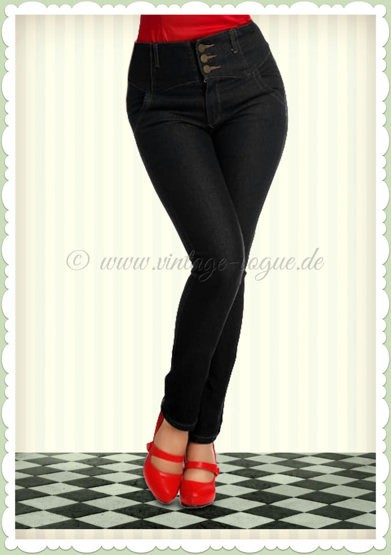 Collectif 50er Jahre Retro Rockabilly Jeanshose - Rebel Kate - Denim Schwarz
