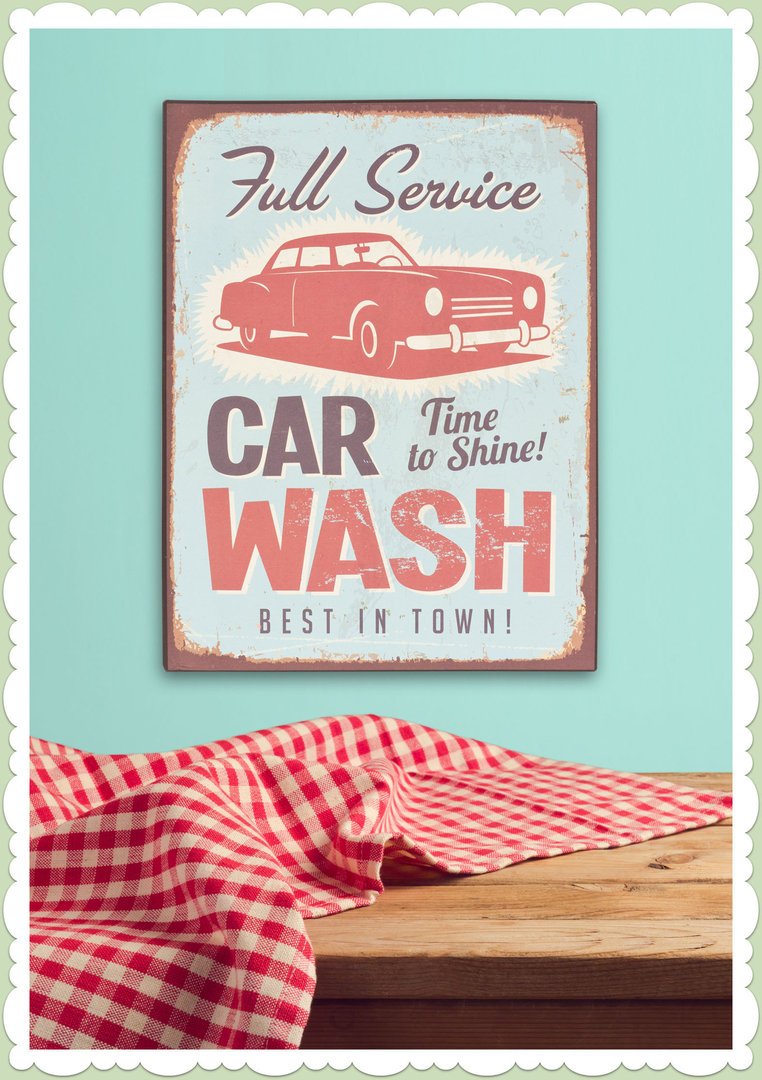 Clayre & Eef 50er Jahre Vintage Retro Textschild - Car Wash
