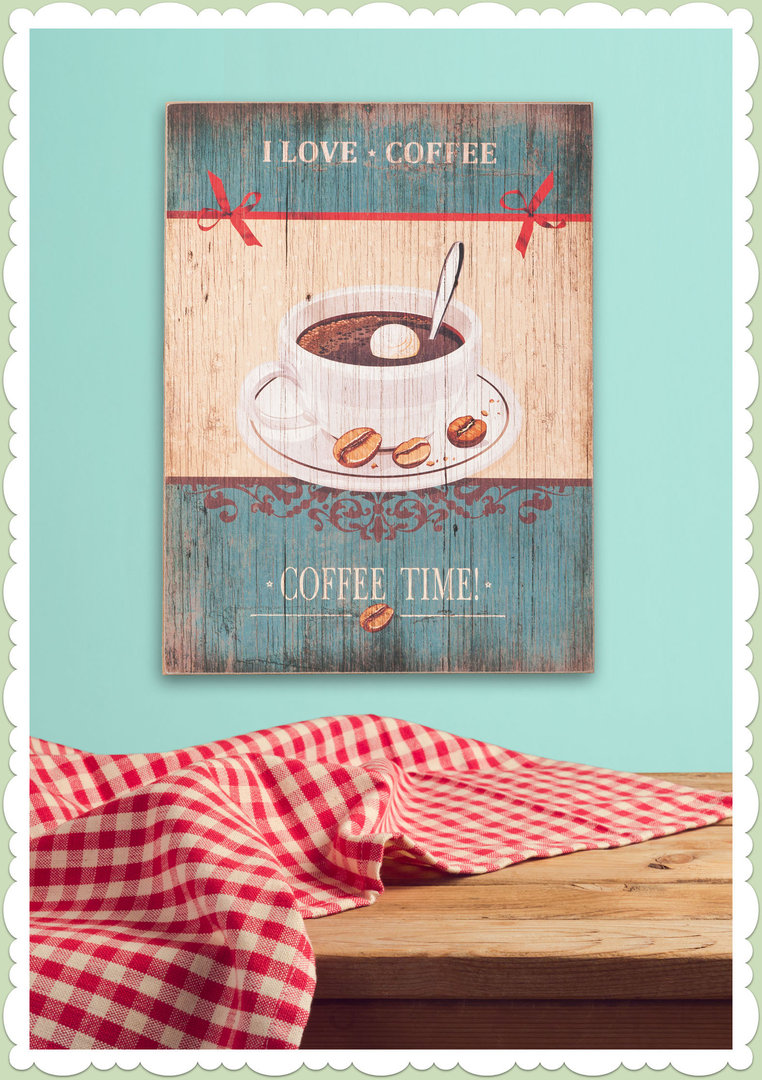 Clayre & Eef 50er Jahre Vintage Retro Textschild - Coffee Time