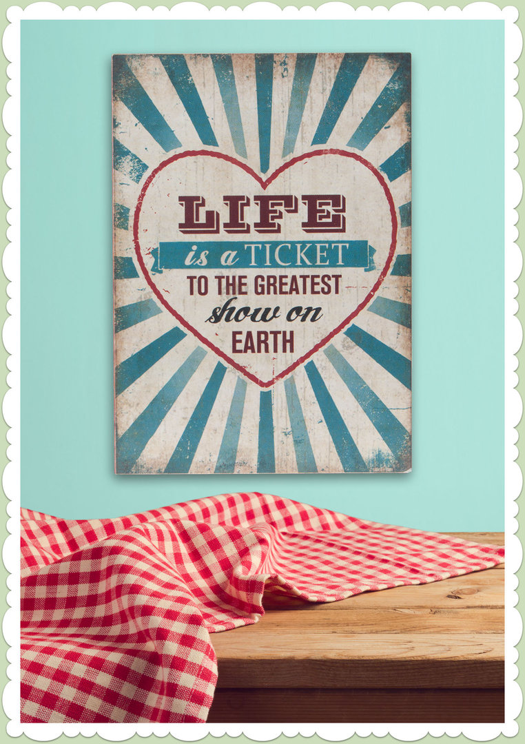 Clayre & Eef 50er Jahre Vintage Retro Textschild - Life is a Ticket