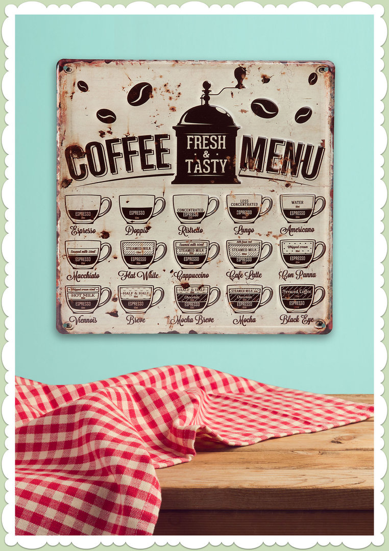 Clayre & Eef 50er Jahre Vintage Retro Textschild - Coffee Menu