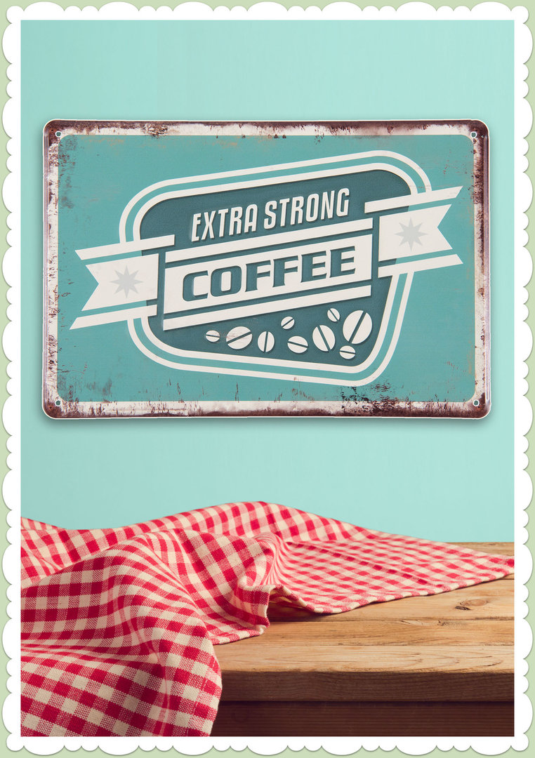 Clayre & Eef 50er Jahre Vintage Retro Textschild - Extra Strong Coffee