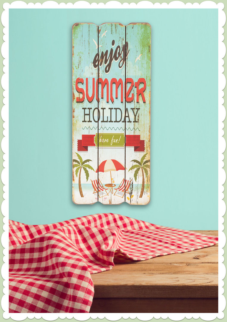Clayre & Eef 50er Jahre Vintage Retro Textschild - Summer Holiday