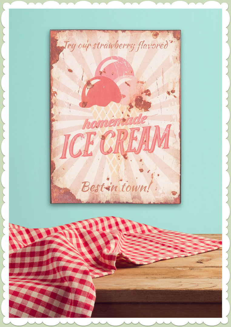 Clayre & Eef 50er Jahre Vintage Retro Textschild - Homemade Ice Cream
