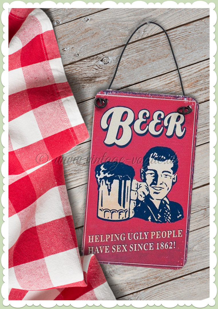 Clayre & Eef 50er Jahre Vintage Retro Textschild - Beer helping since 1862