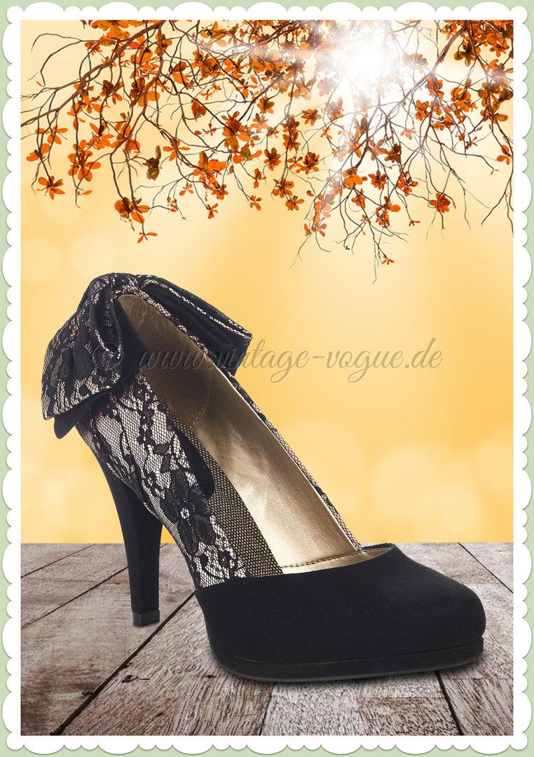 Ruby Shoo 50er Jahre Vintage Spitzen Schuhe Pumps - Katie - Schwarz 87585681f4