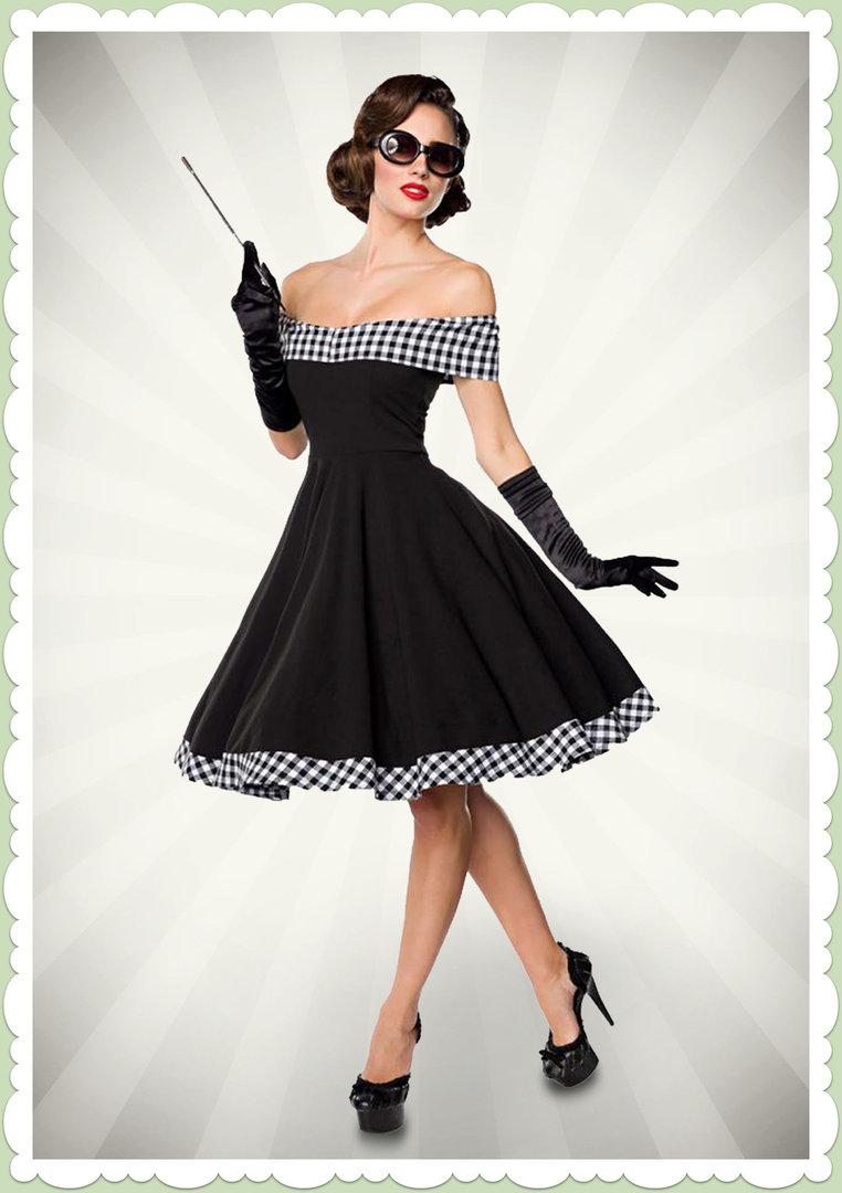 Belsira 50er Jahre Rockabilly Retro Petticoat Kleid Schwarz Weiss