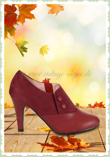 Collectif Lulu Hun 40er Jahre Retro Stiefel Ankle Boots - Maria - Burgundy