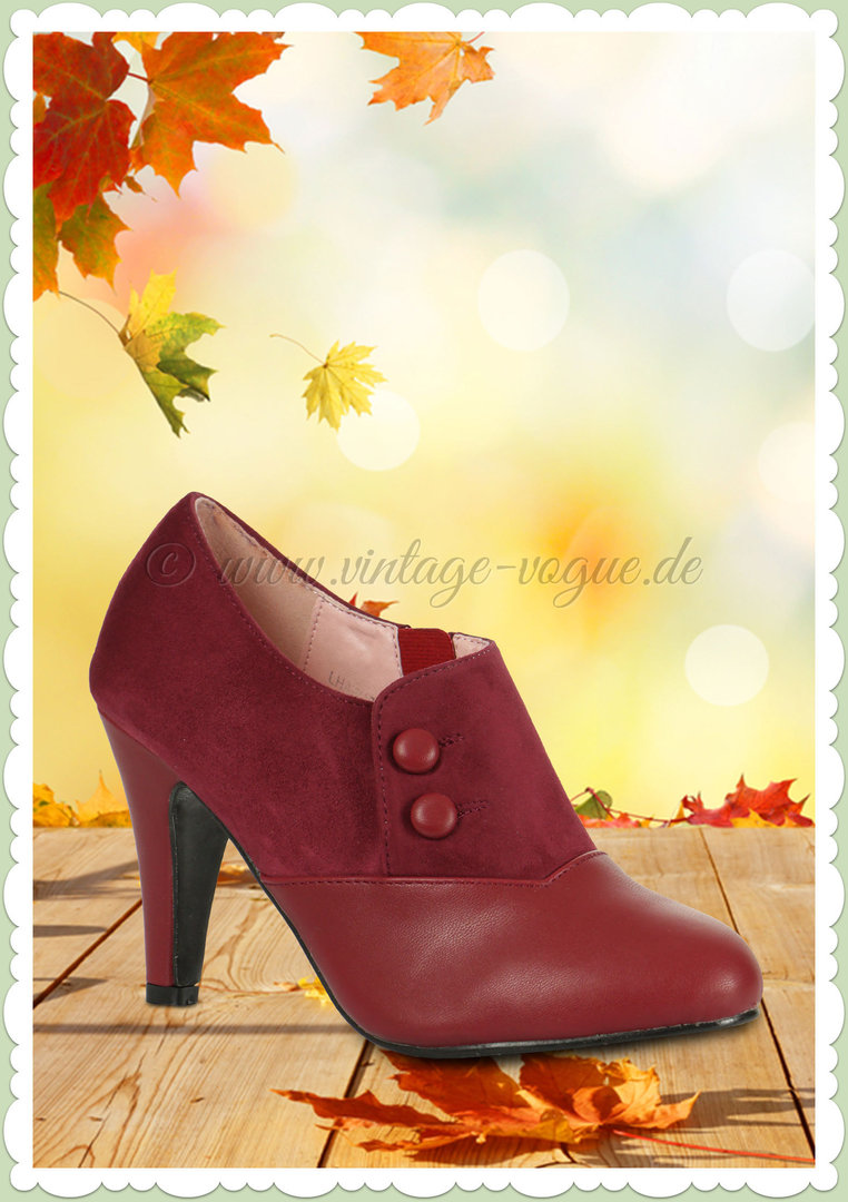 Collectif Lulu Hun 40er Jahre Retro Stiefel Ankle Boots Maria Burgundy