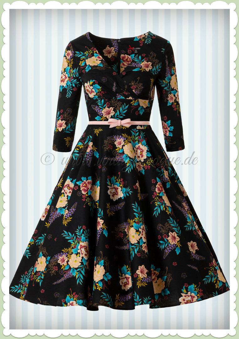 hell bunny 50er jahre retro petticoat floral kleid - blue bell - schwarz