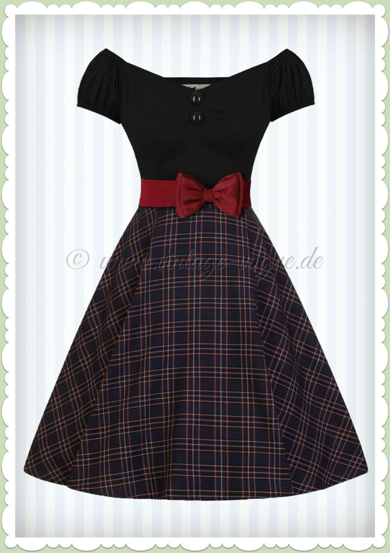 Hell Bunny 50er Jahre Retro Rockabilly Tartan Karo Skirt - Peebles - Navy