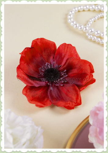 Lady Luck 50er Jahre Retro Vintage Haarblume Anemone - Sophia - Rot