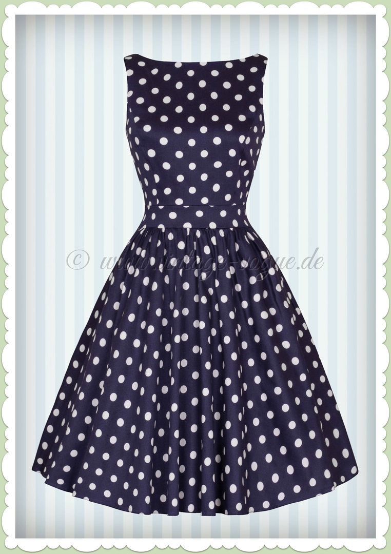 Lady Vintage 40er Jahre Vintage Retro Punkte Kleid - Tea Dress - Navy Blau