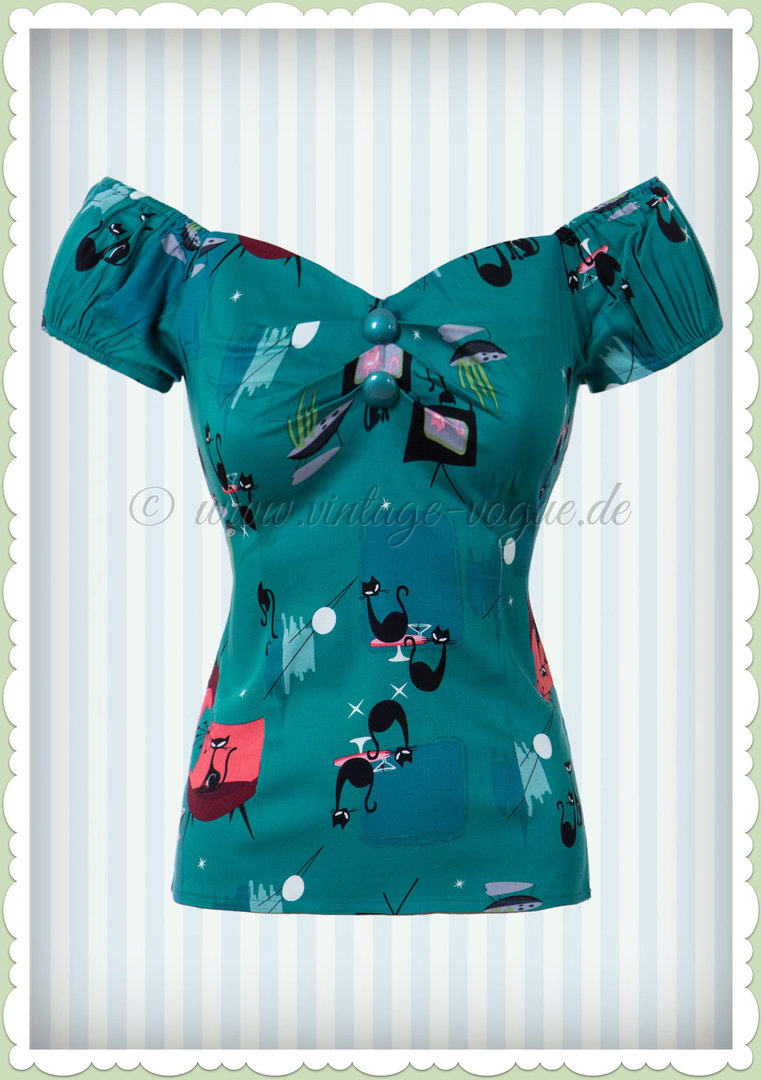 Collectif 50er Jahre Pin Up Katzen Vintage Top Shirt  - Dolores - Petrol Blau