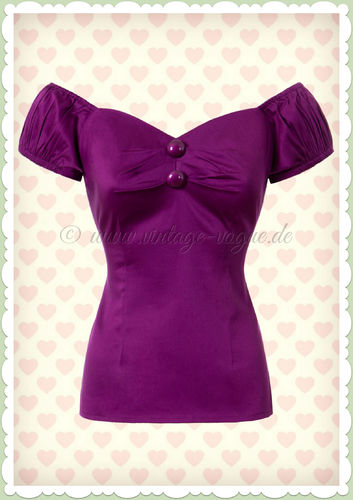 Collectif 50er Jahre Retro Pin Up Vintage Top Shirt  - Dolores - Violett