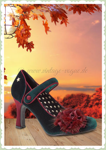 Joe Browns 40er Jahre Retro Vintage Floral Schuhe Pumps - Parade - Grün 23c6fa0f5f